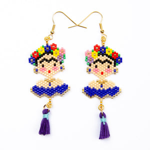 Blue Frida Beaded Dangle Handmade Earrings