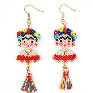 Red Frida Beaded Dangle Handmade Earrings