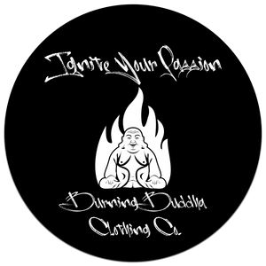 "Ignite Your Passion Burning Buddha Clothing 3""x 3"" Sticker"