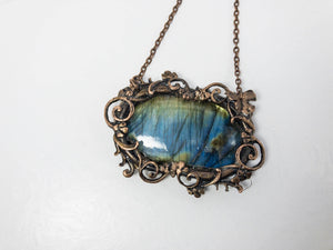 copper wrapped labradorite pendant necklace