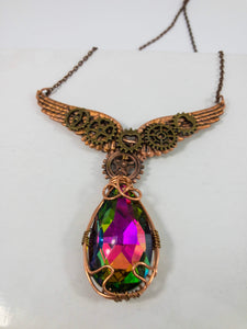 wire wrapped wings necklace