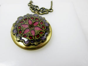 fabric inlay locket necklace