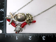 Load image into Gallery viewer, turtle starfish seashell necklace