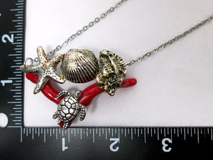 turtle starfish seashell necklace