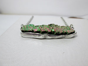 flat back bismuth necklace