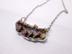 Purple Bismuth Sideways Necklace