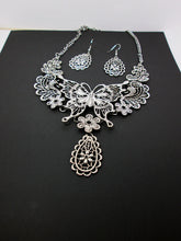 Load image into Gallery viewer, large butterfly statement necklace and earrings set