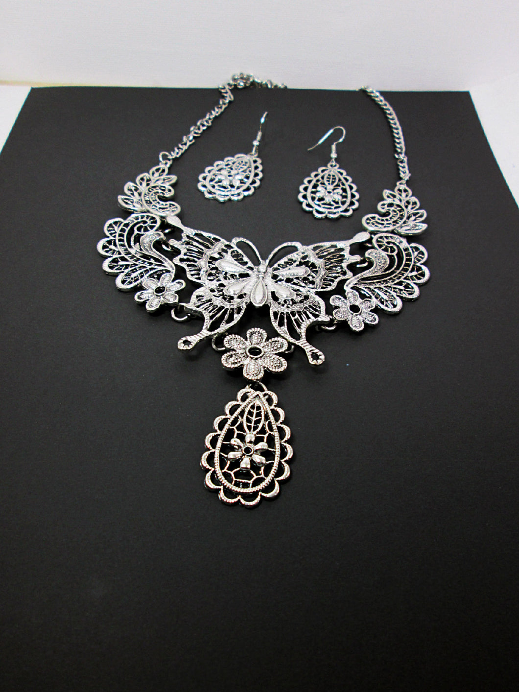 large butterfly statement necklace and earrings set