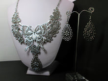 Load image into Gallery viewer, retro silver steampunk butterfly necklace and earrings set