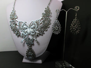retro silver steampunk butterfly necklace and earrings set