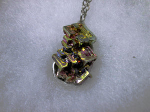 hand wrapped bismuth necklace
