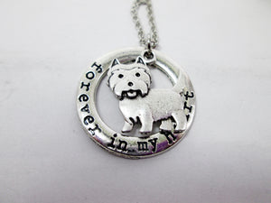 westie dog necklace close up view