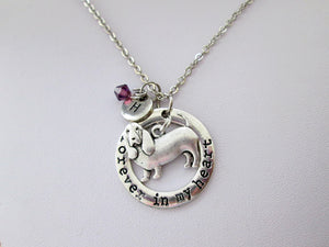 forever in my heart basset hound dog necklace with personalization