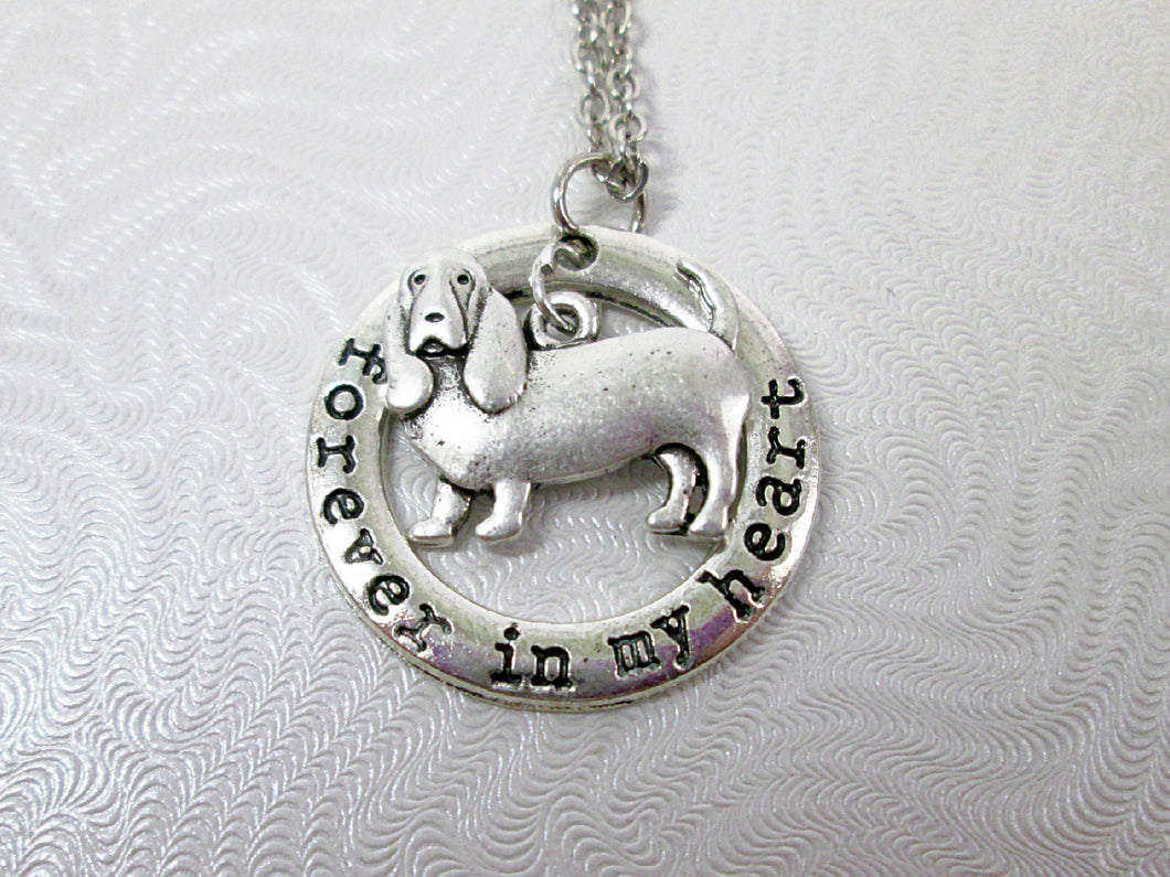 forever in my heart basset hound dog necklace