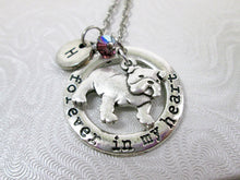 Load image into Gallery viewer, bulldog necklace with name initial and birthstone