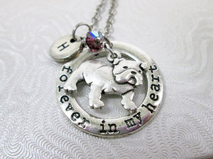 bulldog necklace with name initial and birthstone