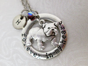 English bulldog necklace with personalization