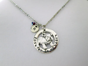 bulldog necklace with personalization