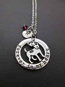 forever in my heart dog necklace with personalization
