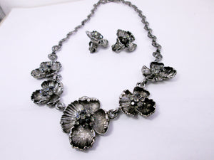 antique silver flower sculptures jewelry set