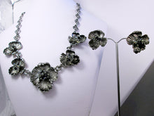 Load image into Gallery viewer, antique silver flower statement necklace and earrings set