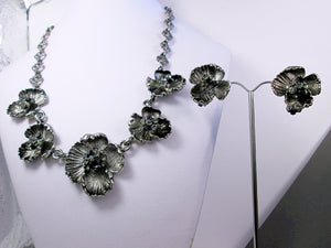 antique silver flower statement necklace and earrings set
