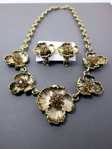 antique gold flower statement necklace and earrings set
