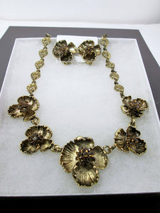 antique gold flower sculptures jewelry set