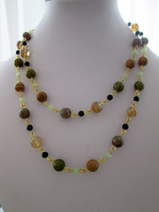 multi gemstones beaded necklace