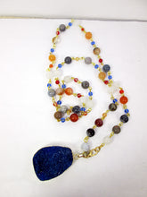 Load image into Gallery viewer, blue druzy crystal necklace