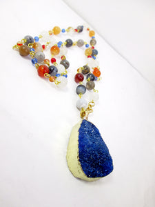 gold dipped druzy stone necklace