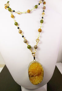 long gem stone necklace