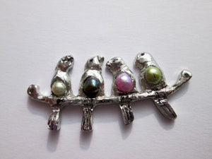 4 birds on branch necklace