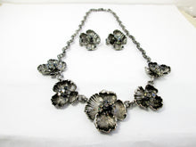 Load image into Gallery viewer, antique silver flower sculpture bib necklace and clip on earrings set