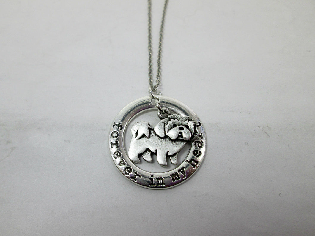 forever in my heart shih tzu dog necklace