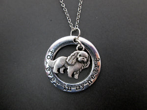 forever in my heart cavalier king charles spaniel dog necklace