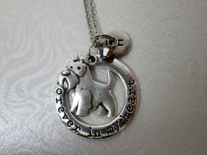 forever in my heart schnauzer dog necklace with personalization