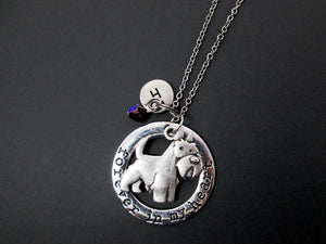 forever in my heart schnauzer dog necklace