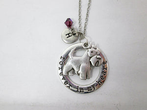 forever in my heart Scottish Terrier necklace with personalization