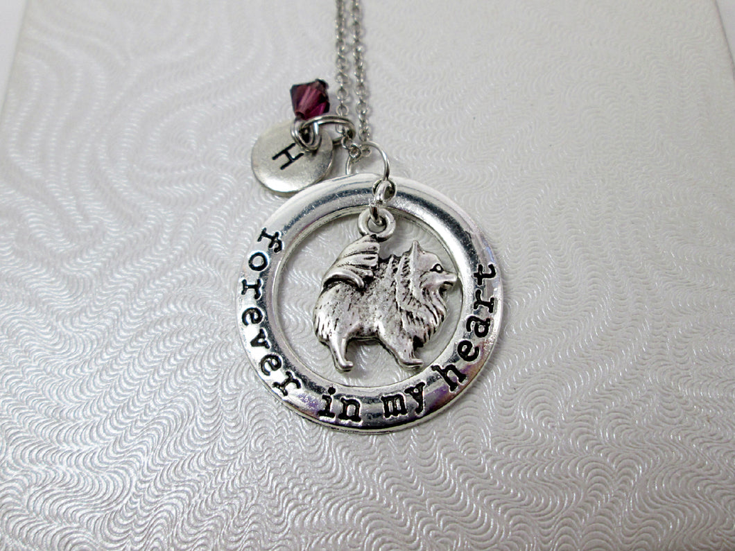forever in my heart pomeranian puppy dog necklace with personalization