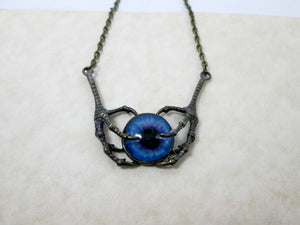 steampunk claw eye pendant