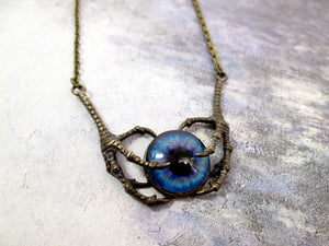 steampunk claw eye pendant necklace