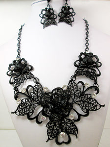 metal filigree rose statement jewelry set