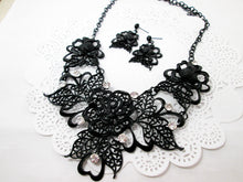 Load image into Gallery viewer, black rose bib necklace and earrings set