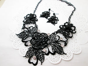 black rose bib necklace and earrings set