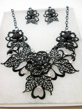 Load image into Gallery viewer, black metal filigree rose statement necklace and earrings set