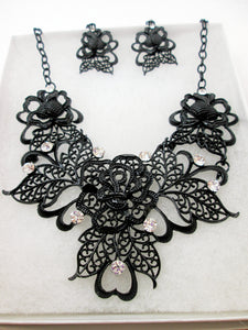 black metal filigree rose statement necklace and earrings set