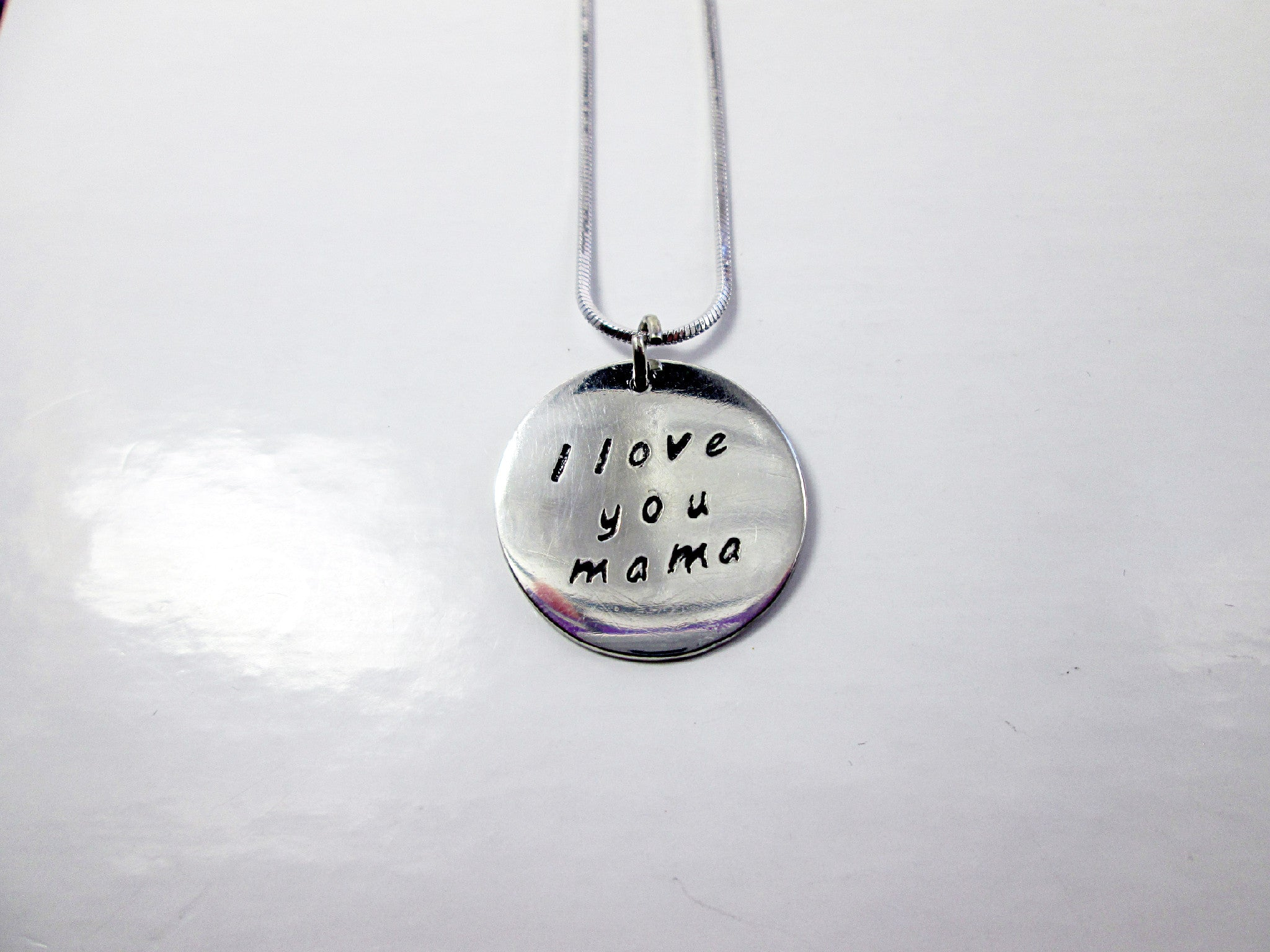 I Love You Mama Hand Stamped Message Necklace