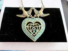Load image into Gallery viewer, verdigris heart in heart infinity love birds necklace