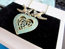Load image into Gallery viewer, antique bronze love birds heart pendant